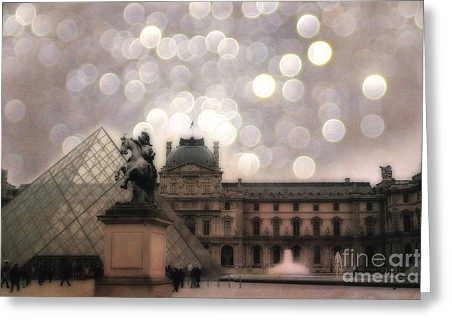 Pyramids Greeting Cards - Paris Louvre Museum Pyramid - Dreamy Louvre Museum and Pyramids Greeting Card by Kathy Fornal