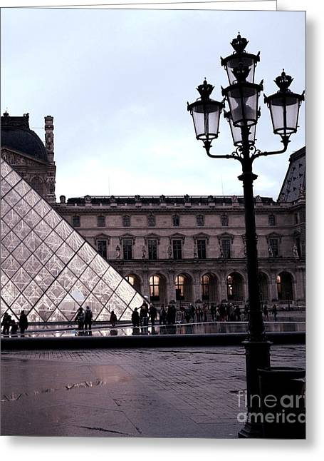 Night Scenes Greeting Cards - Paris Louvre Museum Pyramid - Paris at Dusk Evening - Paris Street Lamps Lanterns at Louvre Greeting Card by Kathy Fornal