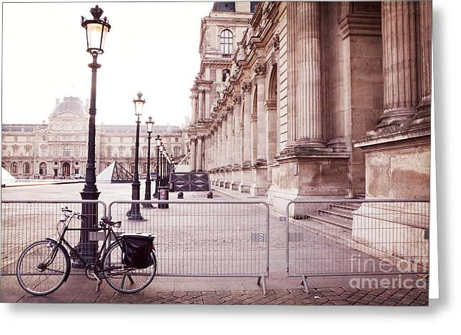 Paris Louvre Museum Street Lamps Bicycle Street Photo - Paris Romantic Louvre Architecture  Greeting Card by Kathy Fornal