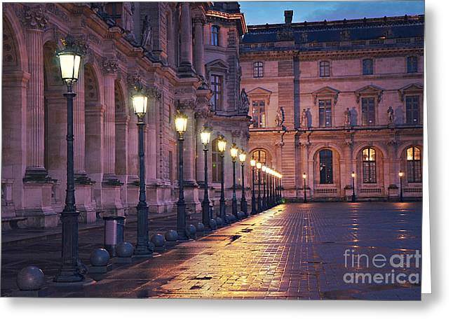 Pyramids Greeting Cards - Paris Louvre Museum Street Lanterns Night Landscape - Louvre Museum Architecture Rainy Night Lights  Greeting Card by Kathy Fornal