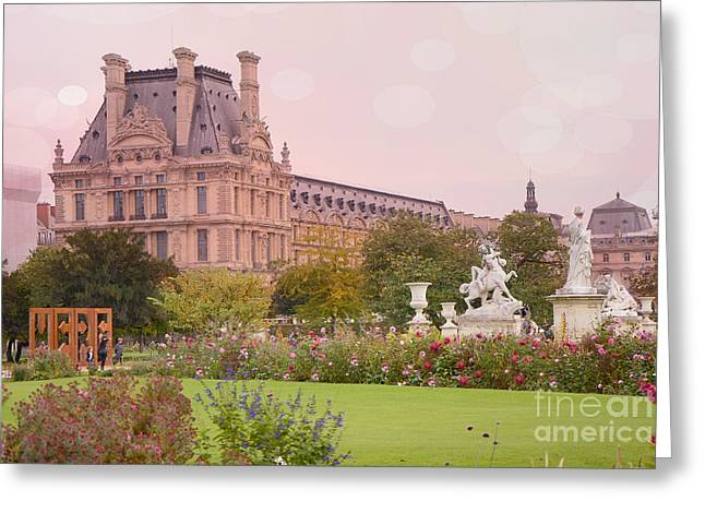 Paris Louvre Palace Tuileries Spring Gardens Floral Romantic Photography Greeting Card by Kathy Fornal