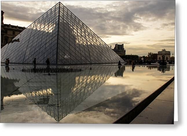 Glass Reflecting Greeting Cards - Paris - Louvre Pyramid Reflecting in the Fountains Pool Greeting Card by Georgia Mizuleva