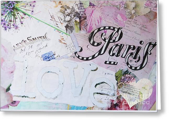 Juvenile Wall Decor Greeting Cards - Paris Love Garden Collage Greeting Card by ArtyZen Home
