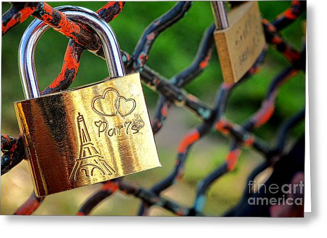 Attach Greeting Cards - Paris Love Lock Greeting Card by Olivier Le Queinec