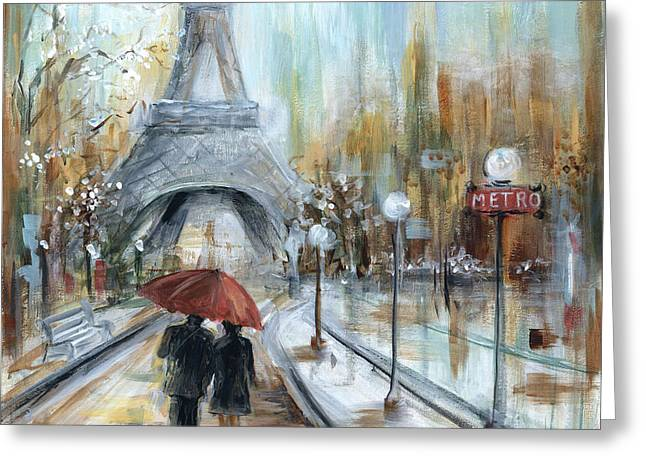 Umbrellas Greeting Cards - Paris lovers I Greeting Card by Marilyn Dunlap