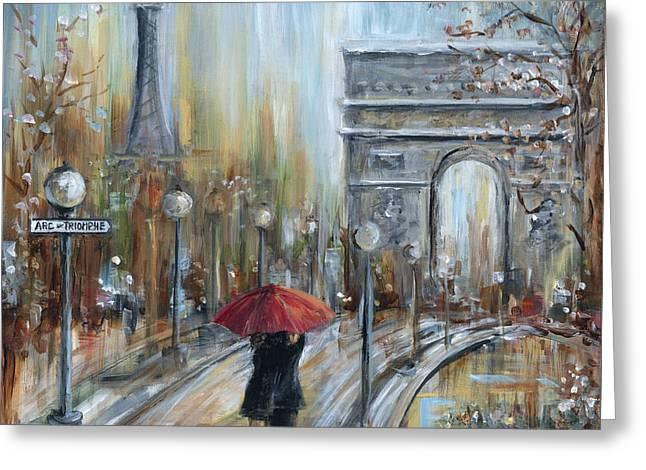 Umbrella Greeting Cards - Paris Lovers II Greeting Card by Marilyn Dunlap