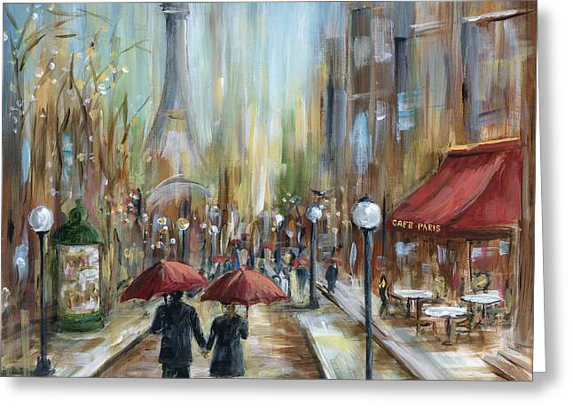 Couples Paintings Greeting Cards - Paris Lovers Ill Greeting Card by Marilyn Dunlap