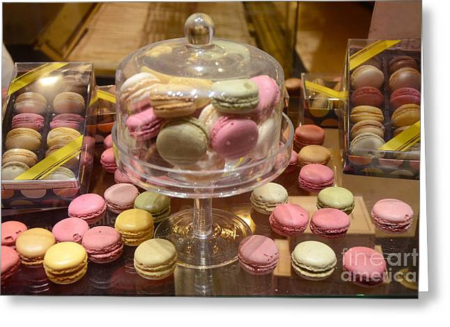 Pink Food Photography Greeting Cards - Paris Macarons Patisserie Bakery - Paris Macarons Desserts Food Photography Greeting Card by Kathy Fornal