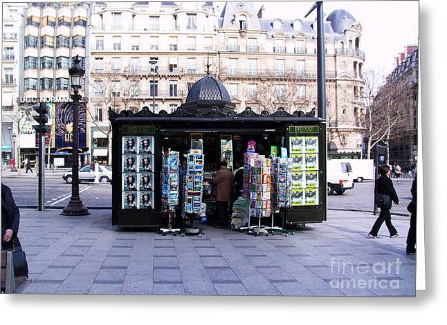Paris Magazine Kiosk Greeting Card by Thomas Marchessault