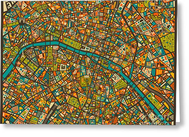 Large Digital Greeting Cards - Paris Map Greeting Card by Jazzberry Blue