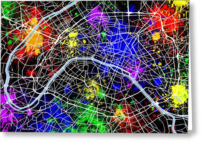 Vincennes Greeting Cards - Paris Map Greeting Card by Stephen Younts
