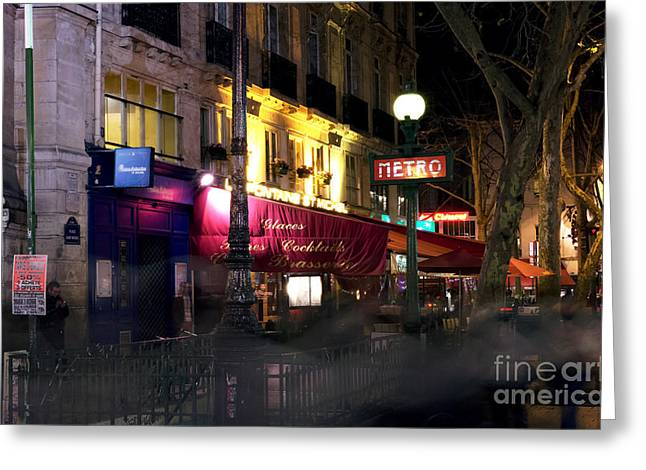 Paris At Night Greeting Cards - Paris Metro Station Greeting Card by John Rizzuto