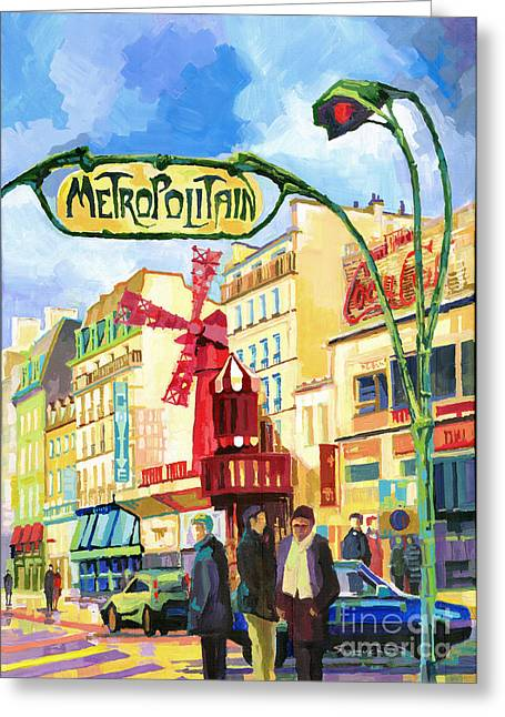 Blanche Greeting Cards - Paris Metropolitain Blanche Moulin Rouge  Greeting Card by Yuriy  Shevchuk