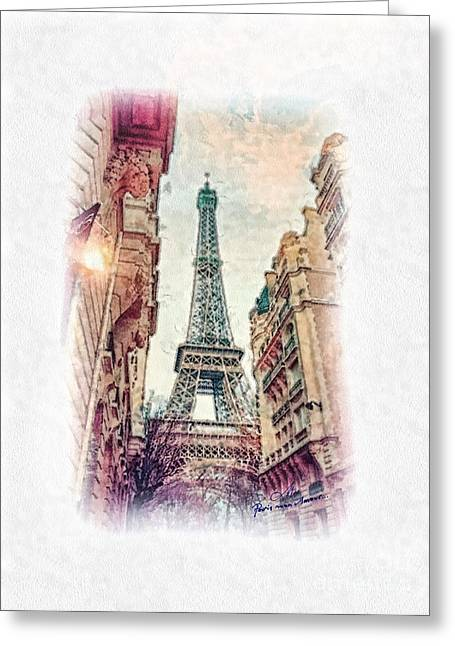 Mo T Greeting Cards - Paris mon Amour Greeting Card by Mo T