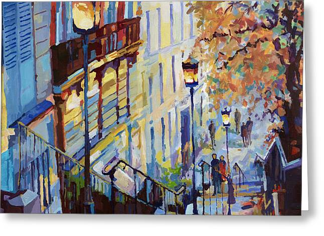Paris Monmartr Steps Greeting Card by Yuriy  Shevchuk