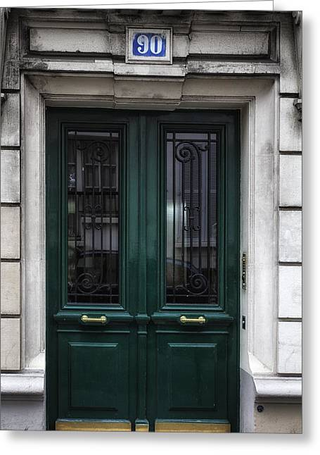 French Door Greeting Cards - Paris Montmartre Door - Dark Emerald Greeting Card by Nomad Art And  Design