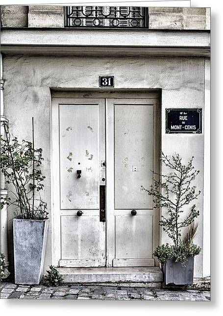French Door Greeting Cards - Paris Montmartre Door - White and Pale Greeting Card by Nomad Art And  Design