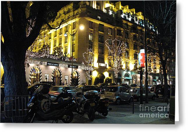Night Scenes Greeting Cards - Paris Night Lights Street Scene Architecture and Vespas Greeting Card by Kathy Fornal