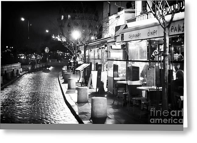 Cafe City Lights Greeting Cards - Paris Nights Greeting Card by John Rizzuto