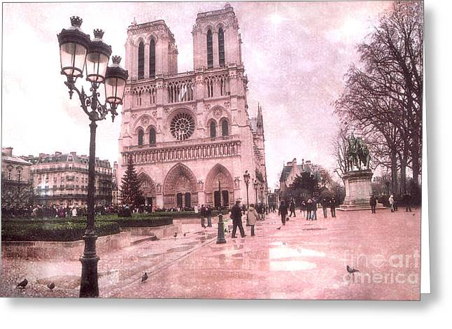 Notre Dame Cathedral Greeting Cards - Paris Notre Dame Cathedral Courtyard - Notre Dame Courtyard Dreamy Pink  Greeting Card by Kathy Fornal