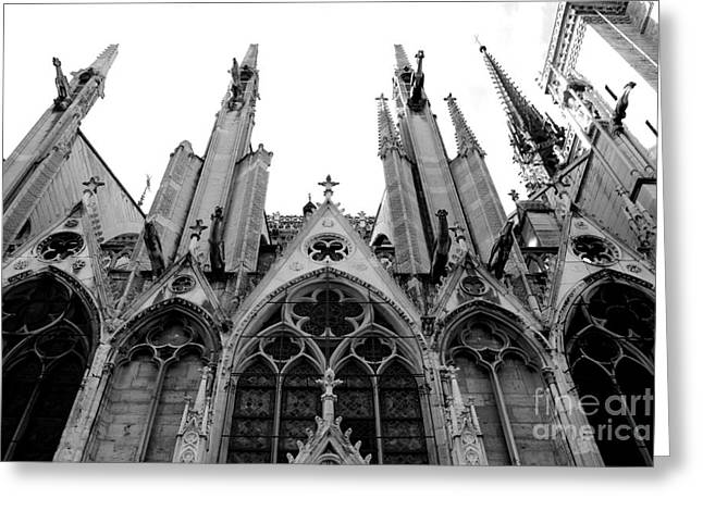 Cathedral Window Greeting Cards - Paris Notre Dame Cathedral Gothic Black and White Gargoyles and Architecture Greeting Card by Kathy Fornal