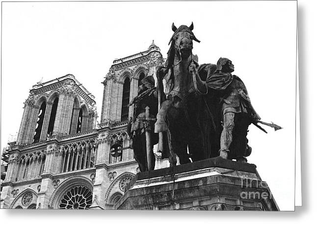 Notre Dame Cathedral Greeting Cards - Paris Notre Dame Cathedral Monument - Charlemagne Horses Statue at Notre Dame Cathedral  Greeting Card by Kathy Fornal