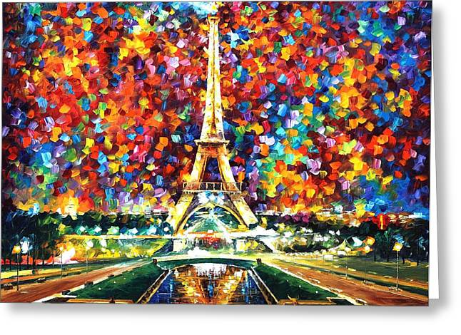 Oil Knife Greeting Cards - Paris Of My Dreams - PALETTE KNIFE Landscape Architecture Oil Painting On Canvas By Leonid Afremov Greeting Card by Leonid Afremov