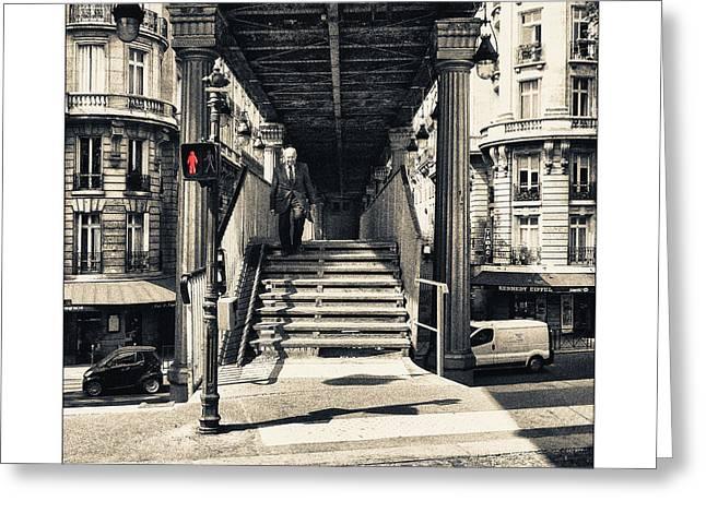 Traffic Pyrography Greeting Cards - Paris - Old Man Greeting Card by ARTSHOT - Photographic Art
