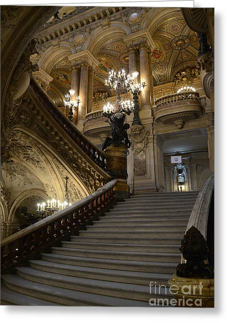 Houses Photos Greeting Cards - Paris Opera Garnier Grand Staircase - Paris Opera House Architecture Grand Staircase Fine Art Greeting Card by Kathy Fornal