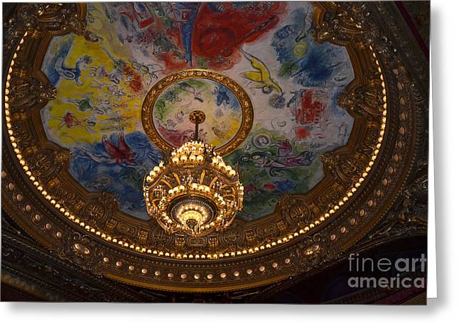 Paris Opera des Garnier Ornate Ceiling Architecture and Opera House Chandelier Ceiling Greeting Card by Kathy Fornal