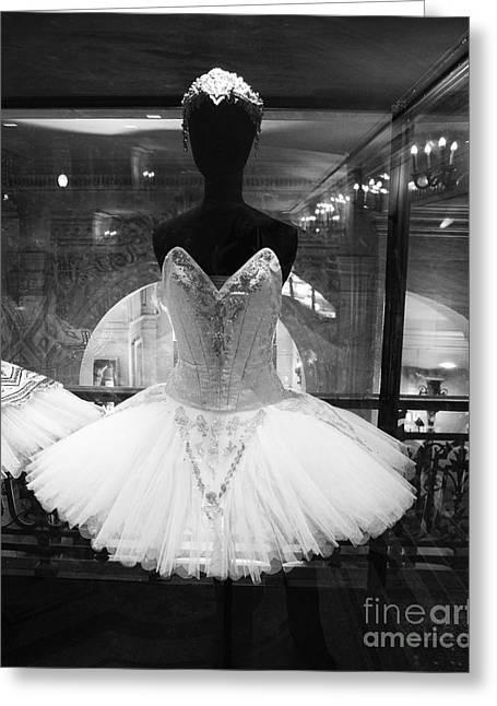 Ballet Art Greeting Cards - Paris Opera Garnier Ballerina Costume Tutu - Paris Black and White Ballerina Photography Greeting Card by Kathy Fornal
