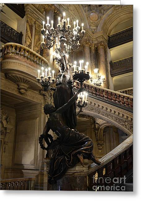 Houses Photos Greeting Cards - Paris Opera House Grand Staircase and Chandeliers - Paris Opera Garnier Statues and Architecture  Greeting Card by Kathy Fornal