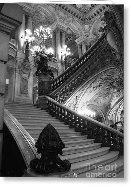 Chandelier Greeting Cards - Paris Opera House Grand Staircase Black and White Art Nouveau - Paris Opera des Garnier Staircase Greeting Card by Kathy Fornal