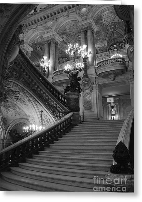 Houses Photos Greeting Cards - Paris Opera House Grand Staircase Black and White Art - Paris Black and White Opera House Staircase Greeting Card by Kathy Fornal