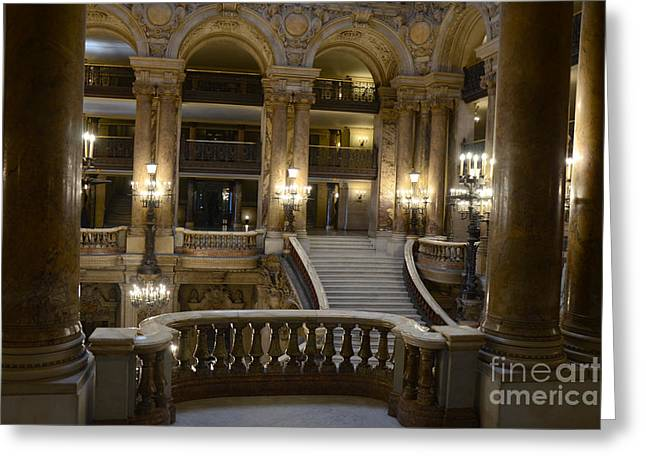 Houses Photos Greeting Cards - Paris Opera House Interior Romantic Staircase Balconies and Architecture  Greeting Card by Kathy Fornal