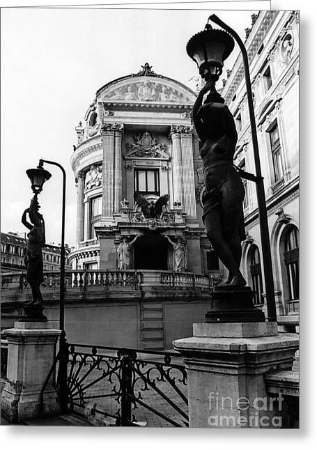 Sculpture Art Greeting Cards - Paris Opera House Ladies Lanterns Statues Sculpture Art Deco Black White Photography Greeting Card by Kathy Fornal