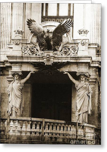 Art Nouveau Greeting Cards - Paris Opera House Ladies Statues Eagle Sculpture Art Deco Obliesks Sepia Photography Greeting Card by Kathy Fornal
