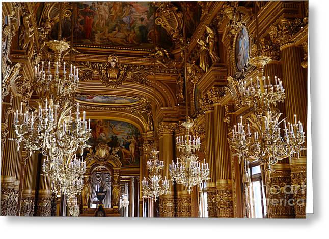 Chandelier Greeting Cards - Paris Opera House Opulent Chandeliers - Paris Opera Garnier Chandelier Room - Crystal Chandeliers Greeting Card by Kathy Fornal