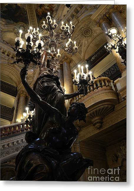 Starlit Greeting Cards - Paris Opera House - Paris Palais Garnier - Paris Opera House Interior - Chandeliers and Statues  Greeting Card by Kathy Fornal