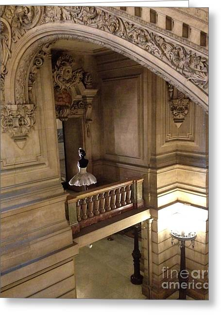 Houses Photos Greeting Cards - Paris Opera House Staircase Interior Architecture With Opera House Ballerina Greeting Card by Kathy Fornal