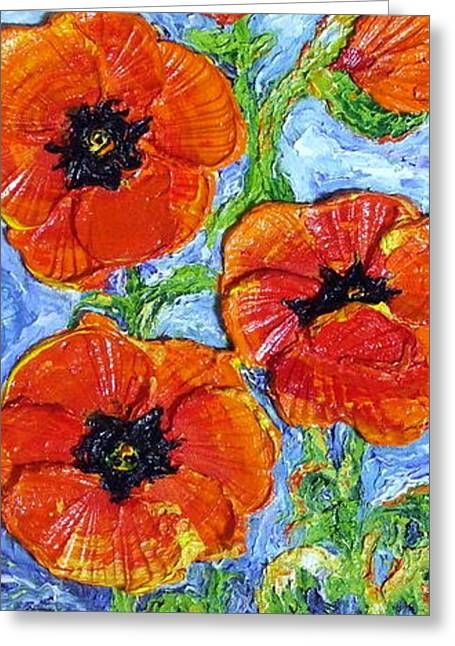 Paris Wyatt Llanso Greeting Cards - Paris Orange Poppies Greeting Card by Paris Wyatt Llanso