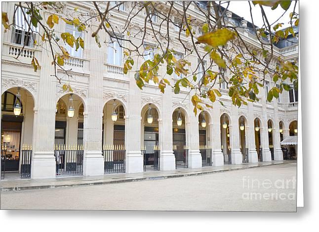 Winter Photos Greeting Cards - Paris Palais Royal Columns - Paris Winter White Palais Royal Architecture Greeting Card by Kathy Fornal