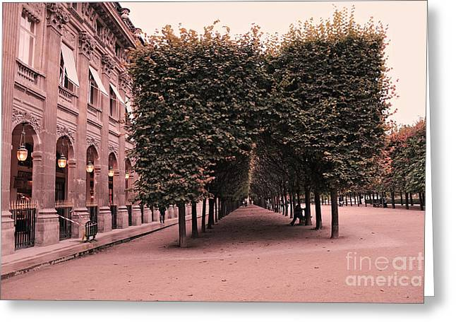 Photos Of Autumn Greeting Cards - Paris Palais Royal French Palace - Paris Palais Royal Architecture - Paris Surreal Garden and Trees  Greeting Card by Kathy Fornal