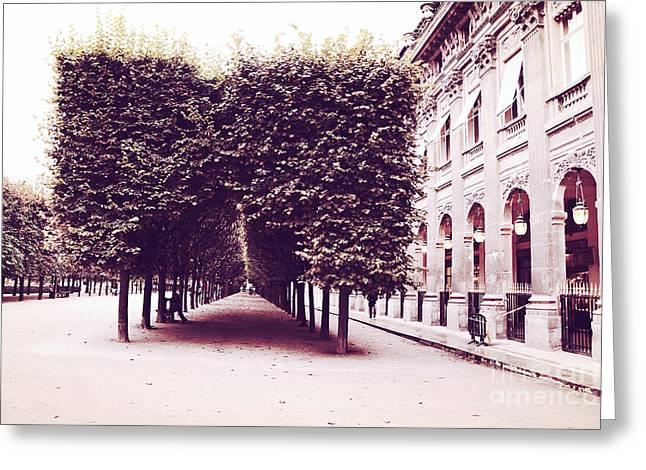 Photos Of Autumn Greeting Cards - Paris Palais Royal Row of Trees and Paris Palais Royal Garden Architecture Greeting Card by Kathy Fornal