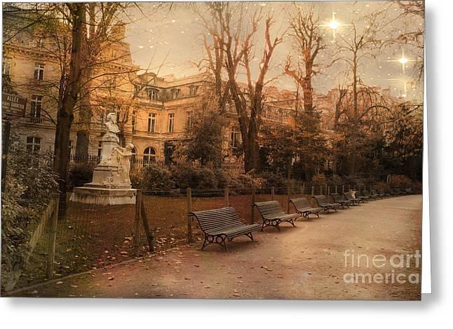 Paris Parc Monceau Gardens - Jocques Garnerin Parc Monceau Sunset Starlit Park And Garden Sculpture  Greeting Card by Kathy Fornal