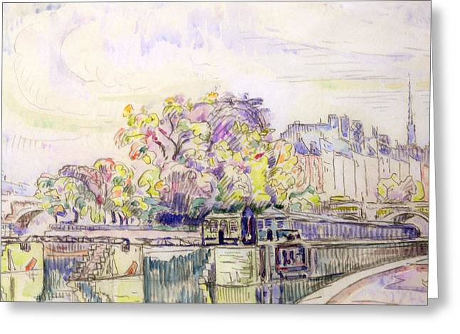 For Sale Drawings Greeting Cards - Paris Greeting Card by Paul Signac