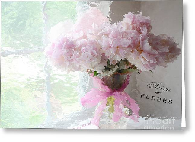 Floral Photos Greeting Cards - Paris Peonies Shabby Chic Dreamy Pink Peonies Romantic Cottage Chic Paris Impressionistic Peonies  Greeting Card by Kathy Fornal