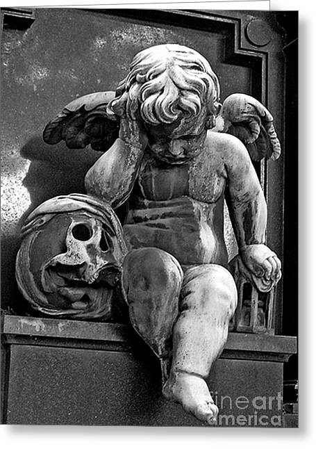Paris Pere Lachaise Cemetery- Cherub Gothic Angel With Skull Greeting Card by Kathy Fornal