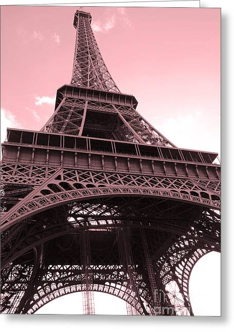Paris Photography - Eiffel Tower Baby Pink Pastel Photography - Eiffel Tower Architecture Greeting Card by Kathy Fornal