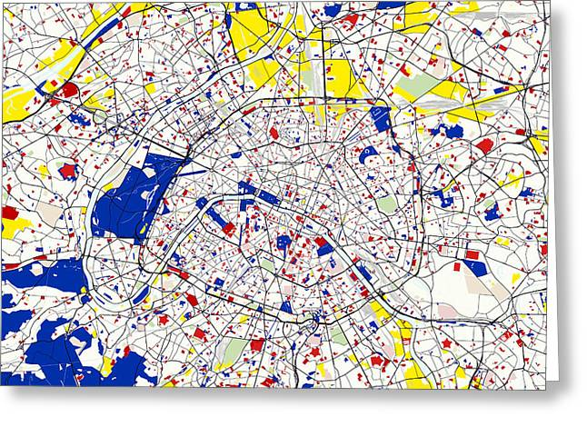 Circles Squares Triangle Textured Greeting Cards - Paris Piet Mondrian Style City Street Map  Greeting Card by Adam Asar